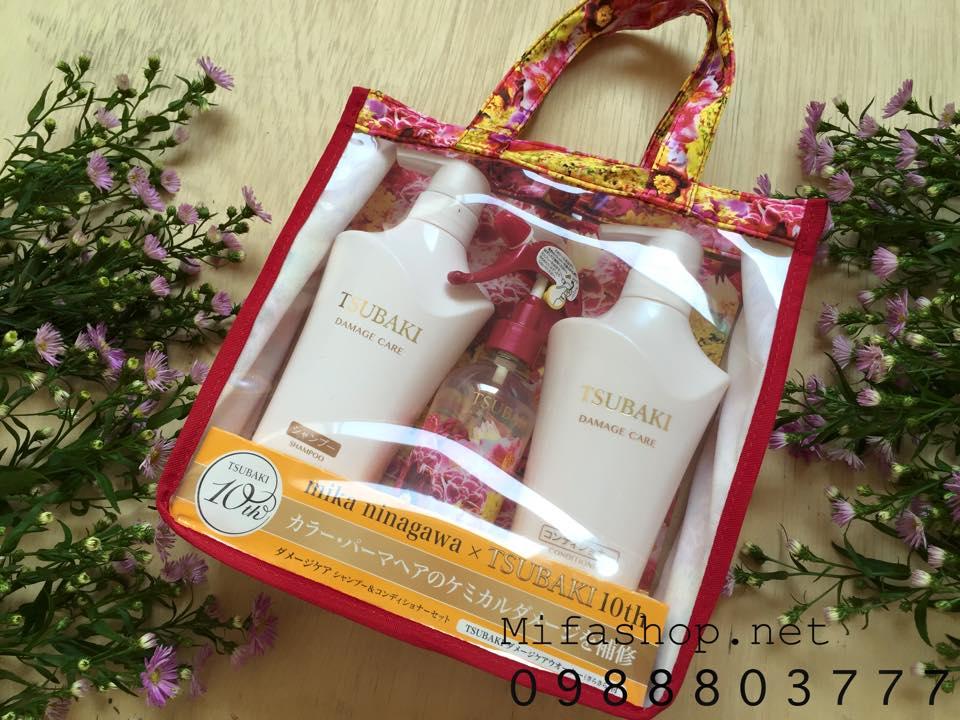 Bộ 3 dầu gội Shiseido Tsubaki Damage Care dành cho tóc hư tổn