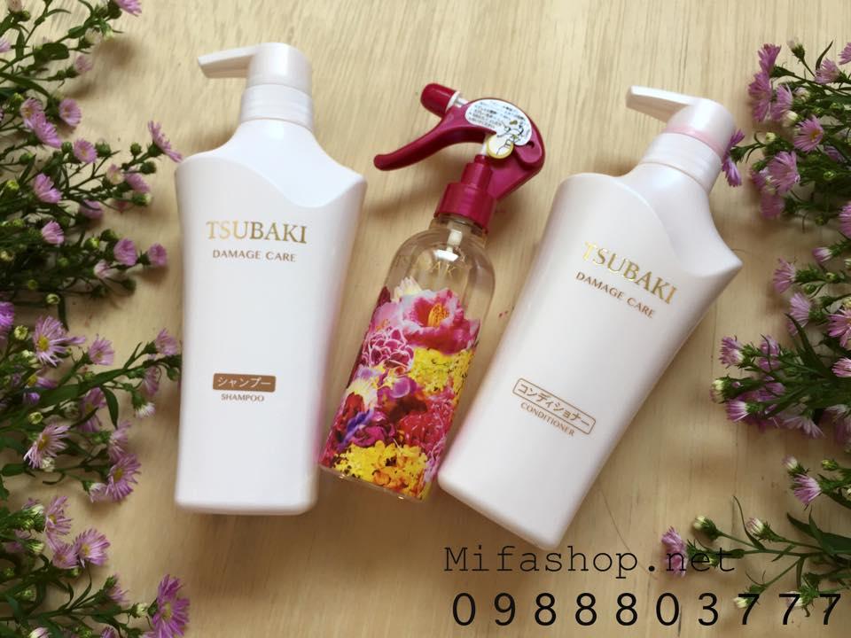 Bộ 3 dầu gội, xả, xịt dưỡng tóc Shiseido Tsubaki Damage Care 10th