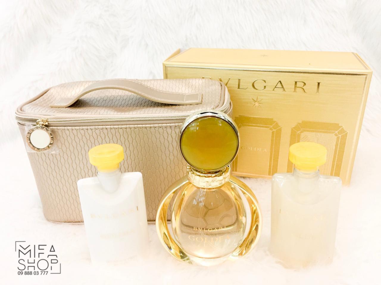 Bộ Quà Tặng Bvlgari Goldea Eau de Parfum EDP 90ml, Body Lotion 75ml, Sữa Tắm 75ml, Túi
