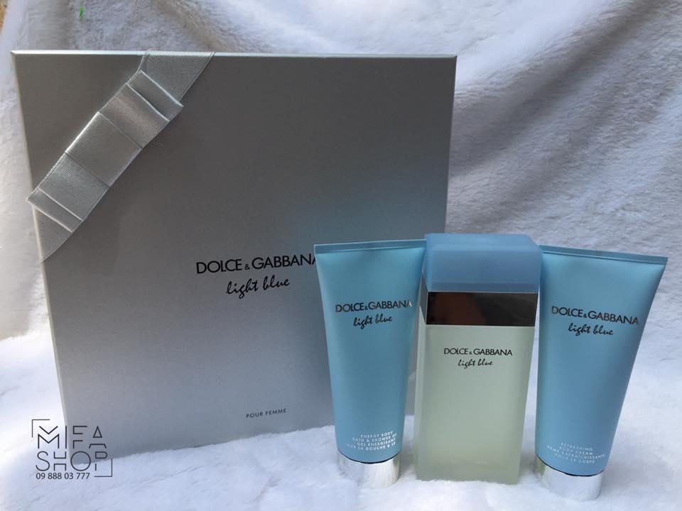 GIFT SET NƯỚC HOA NỮ DOLCE & GABBANA LIGHT BLUE EDT 100ML