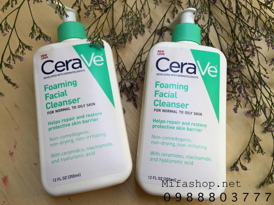 Sữa Rửa Mặt CeraVe Foaming Facial Dành Cho Da Thường và Da Dầu