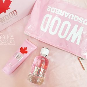 Bộ quà tặng nước hoa nữ wood dsquared2 edp 100ml gel tắm, túi xách