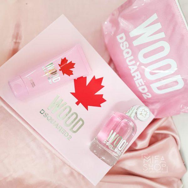 Bộ quà tặng nước hoa nữ wood dsquared 2 edp 100ml, gel tắm, túi xách