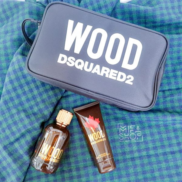 Bộ quà tặng nước hoa Dsquared2 Wood Man Pouch chính hãng