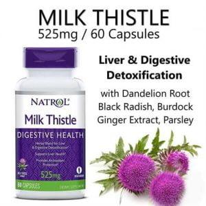 Viên uống thải độc gna Natrol Milk Thistle 525mg 60 viên chính hãng