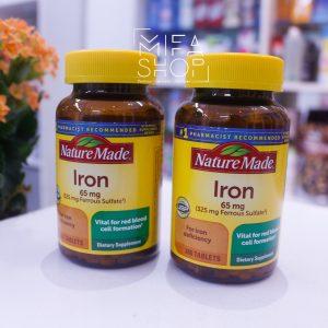 Viên uống bổ sung sắt Iron Nature Made 65mg 365 viên