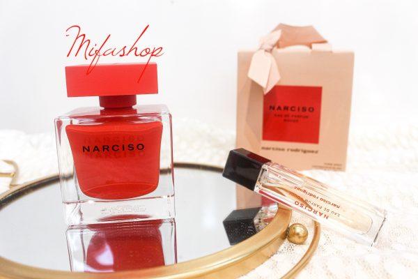 Bộ Quà Tặng Nước Hoa Narciso Rouge Narciso Rodriguez 90ML, Mini 10ML